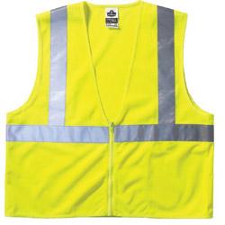 "Ergodyne Economy Vest Class Ii Mesh Zipper Lime 4xl/5"" x l"