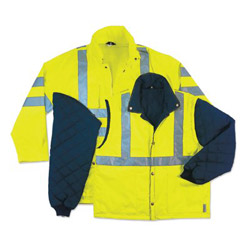 "Ergodyne Glowear 8385 Class 3 4-in-1 Jacket 5"" x l Lime"