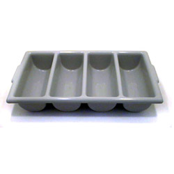 Tablecraft 4 Compartment Gray Cutlery Bin
