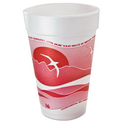 Dart Container 16J16 Cranberry Design 16 Ounce Foam Cups