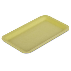 "Genpak 16SYL Yellow Foam Meat Tray, 12 1/4"" x 7 1/4"" x 1/2"""