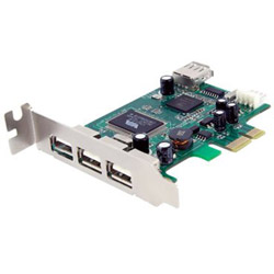 Startech 4 Port PCI Express Low Profile High Speed USB Card - USB adapter - 4 ports