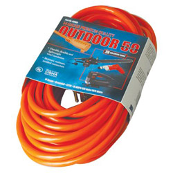 Coleman Cable 02408 - 14/3 50' SJTW Extension Cord, Red