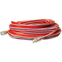 Coleman Cable 12/3 100' SJTW RED- WHITE & BLUE MADE IN USA COR