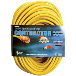 Coleman Cable Vinyl Extension Cord, SJTW-A, 100ft Long, 10/0 AWG, Yellow