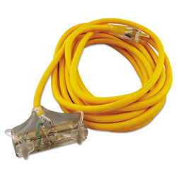 Coleman Cable Polar/Solar Outdoor Extension Cord, 25ft, Three-Outlets, Yellow