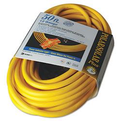 Coleman Cable Polar/Solar Outdoor Extension Cord, 50ft, Three-Outlets, Yellow