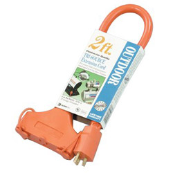 Coleman Cable Tri-Source Vinyl Multiple Outlet Cord, 3-Way, 2ft, AWG 12/3, SJTW-A, Orange
