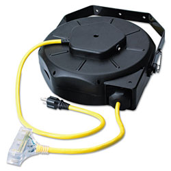 Coleman Cable Retractable Industrial Extension Cord Reel, 50ft, Yellow/Black