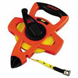 Lufkin Engineer Hi-Viz Fiberglass Measuring Tape, 1/2 inx100ft, Yellow Blade, Orange Case