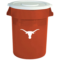 Rubbermaid Team Brute Round Container w/Lid, Texas Longhorns, 32 Gal, Plastic, Orange/White