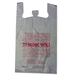 Sweet Paper Thank You High-Density Shopping Bags, 18 in x 30 in, White, 500/Carton