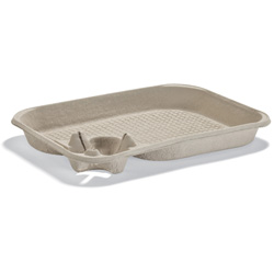 Huhtamaki Molded Fiber Drink Carrier with Food Tray, 1 Cup, 8-22 OZ