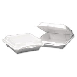 Genpak 20010 Large White Foam Hinged Lid Container, 1 Compartment