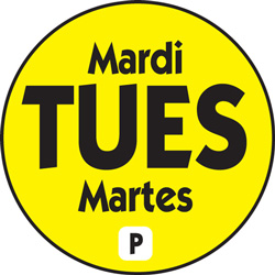 National Check .75 in Food Rotation Label, Tuesday, Yellow