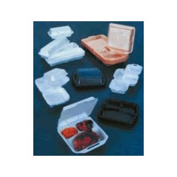 Genpak 21800 White Foam Hinged Lid Wedge Dessert Containers, 1 Compartment
