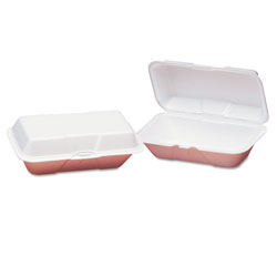 Genpak 21900 White Foam Hinged Lid Large Hoagie Containers, 1 Compartment