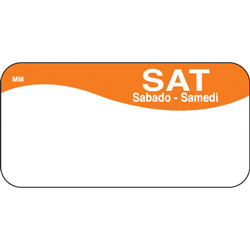 Daymark MoveMark Day of the Week Food Safety Labels, 1 inx2 in,Saturday, Orange