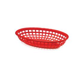 Tablecraft Plastic Oval Basket, 9 inx6 in, Red