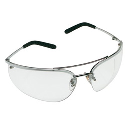 AO Safety Metaliks Safety Glasses, Gray Anti-Fog Lens, Polished Metal Frame