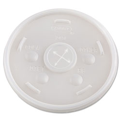 Dart 24SL05 Plastic Straw Slotted Translucent Lids for Hot/Cold Foam Cups