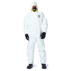 Extensis Tychem SL Coveralls with attached Hood and Socks, Storm Flap, Bound Seams, 3XL