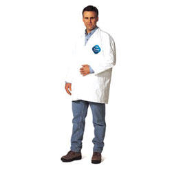 Extensis Tyvek Lab Coats No Pockets Knee Length, Large, DuPont Tyvek Lab Coat