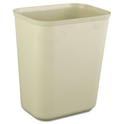 Rubbermaid Fire-Resistant Wastebasket, Rectangular, Fiberglass, 1.75 gal, Beige