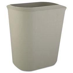 Rubbermaid Fire-Resistant Wastebasket, Rectangular, Fiberglass, 3.5 gal, Gray