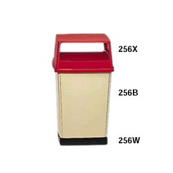 Rubbermaid Square Outdoor Trash Can, 56 GAL, Cream