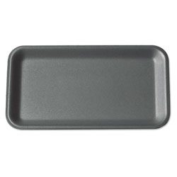 "Genpak 25SBK 8"" x 14 3/4"" x 1 1/16"" Black Foam Meat Tray"