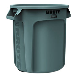 Rubbermaid Round Brute Container, Plastic, 10 gal, Gray
