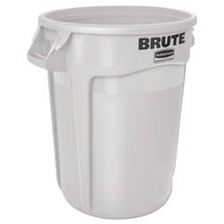 Rubbermaid Round Brute Container, Plastic, 10 gal, White