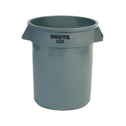 Rubbermaid Brute Round Plastic Outdoor Trash Can, 20 Gallon, Gray