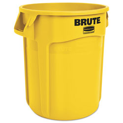 Rubbermaid Brute Round Plastic Outdoor Trash Can, 20 Gallon, Yellow