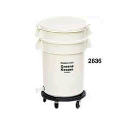 Rubbermaid Round Plastic Wheeled Trash Can, 20 Gallon, White
