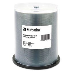 Verbatim 100 x CD-R - 700 MB (80min) 52X - White - Ink Jet Printable Surface, Printable Inner Hub - Spindle - Storage Media