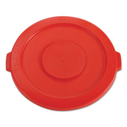 Rubbermaid Round Flat Top Lid, for 32 gal Round BRUTE Containers, 22.25 in diameter, Red