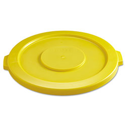 Rubbermaid Round Flat Top Lid, for 32 gal Round BRUTE Containers, 22.25 in diameter, Yellow