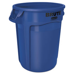 Rubbermaid Round Plastic Outdoor Trash Can, 32 Gallon, Blue