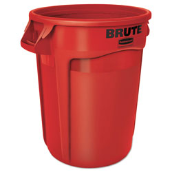 Rubbermaid Brute Round Plastic Outdoor Trash Can, 32 Gallon, Red