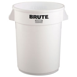 Rubbermaid Brute Round Plastic Outdoor Trash Can, 32 Gallon, White