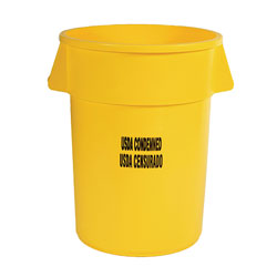 "Rubbermaid 2643-46 BRUTE® Container without Lid with ""USDA Condemned"" Black Imprint, English and Spanish"