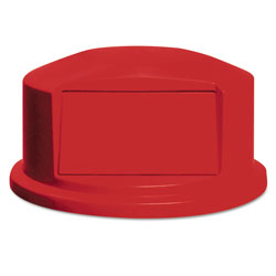 Rubbermaid Round Brute Dome Top w/Push Door, 24 13/16 x 12 5/8, Red