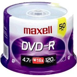 Maxell 50 x DVD-R - 4.7 GB 16X - Spindle - Storage Media