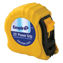Empire Level Power Grip Steel Tape Measure, 1in x 25ft, Yellow