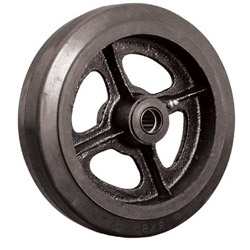 "Ez Roll 4"" x 2"" Rubber Tread Castiron Core Wheel 1/2"" I"