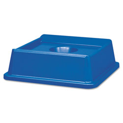 Rubbermaid Untouchable Bottle and Can Recycling Top, Square, 20.13w x 20.13d x 6.25h, Blue