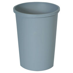Rubbermaid Untouchable Waste Container, Round, Plastic, 11 gal, Gray
