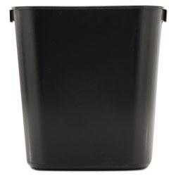 Rubbermaid Deskside Plastic Wastebasket, Rectangular, 3.5 gal, Black